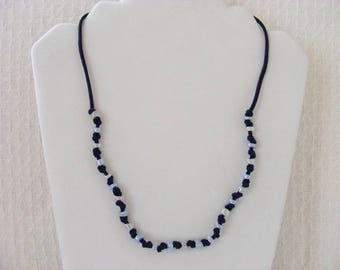 Suede and Glass Boho Necklace in Navy and Light Blue
