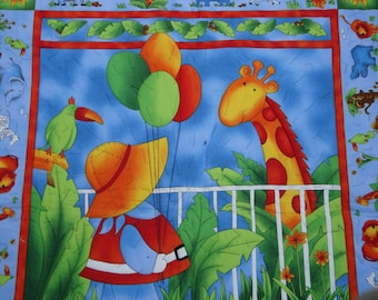 Girl with Balloons at the Zoo is a bright colored baby blanket or wall hanging for the baby's room.
