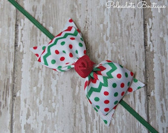 Boutique Christmas Headband Tuxedo Bow Skinny Elastic Headband Christmad Baby Bow Red & Green Headband Christmas Baby Headband Baby Bow