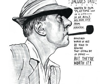 Jacques Tati poster print Great French Movie Director