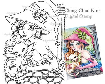 Chihuahua Lover- Digital Digi Stamp Instant Download / Dog Witch Fantasy Art by Ching-Chou Kuik