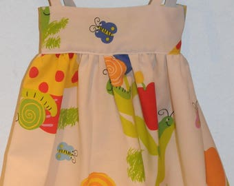 """dress with straps fabric theme """"snails"""""""