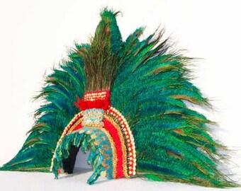 Montezuma's Aztec Feather Headdress. Mexican King Moctezuma Mayan penacho. Handmade. Museum quality tribal replica.