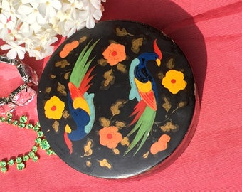 Vintage papier mache powder box, hand painted, birds and flowers, lacquered trinket box, jewellery holder, gift for her, mothers day