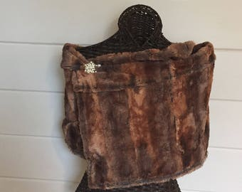 Brown faux fur wrap brown faux fur shawl stole