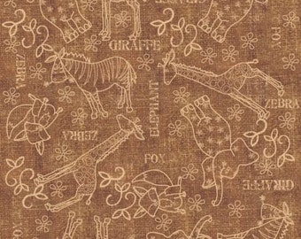 """Cartoon Fabric : Wild Things Brown Animal Sketches Jungle Animals by Quilting Treasures   100% cotton Fabric by the yard 36""""x43""""  (QT248)"""