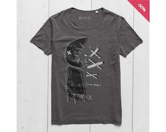 Man Graphic tee Printed t shirt Organic Slub Cotton Anthracite  - Big Fish