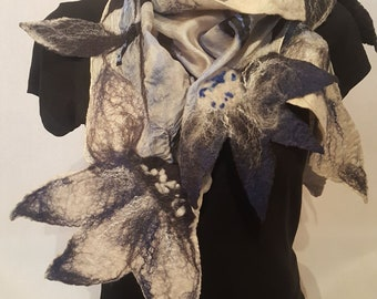 Elegant Femine Unique silk felted Scarf