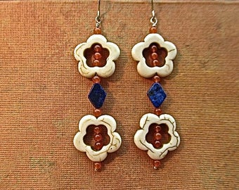 Magnesite, adventurine, and lapis lazuli earrings