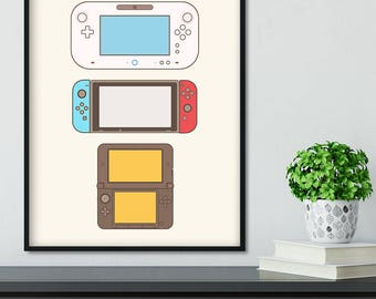 College Dorm Video Game Art, Video Game Poster, Super Mario Nintendo Gameboy Game Print, Nintendo Lover Poster, Man Cave Video Gamer
