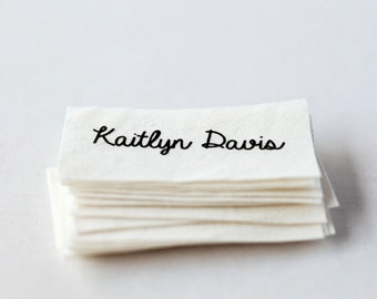 Sew on name tags / clothing labels - white organic cotton labels for clothing