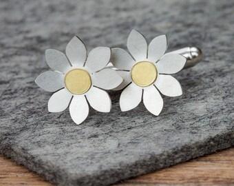 Dahlia flower Cufflinks, Silver floral cufflinks, Mens cufflinks, Floral Cufflinks, Flower cufflinks