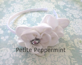 Baby headband, toddler headband, little girl headband, big girl headband, toddler hard headband - White Flower Headband