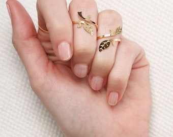 gold ring- knuckle ring- Gold leaf Ring- adjustable gold ring- gold Stacking ring- gold filled ring- dainty tiny ring- delicate jewelry