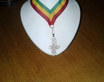 Rasta Lanyard with Silver Plated Ethiopian Cross