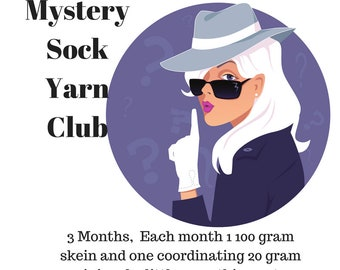 Mystery Sock Yarn Club- 3 Months May, June & July