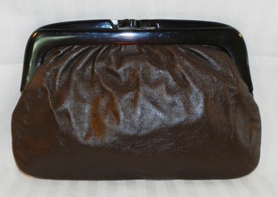 VTG Brown Leather Clutch from Italy - Free Shipping in US