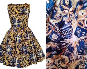 Doctor Who Dress Van Gogh Exploding Tardis -  Made To Measure Fully Lined Measurements Required