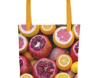 Winter Fruit Tote Bag Pomegranate Lemon Citrus Fashion Bag Gift for Wife Mother Girlfriend Nature Hippie Boho Purse