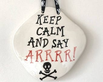 Pirate Wall Plaque - Pirates - Ceramic Plaque - Pottery Plaque