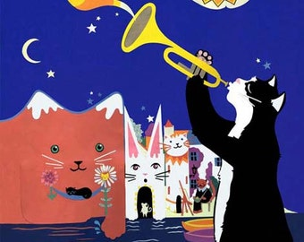 Cats of Cadaques - Limited Edition Print - Jazz Cats Art Print - Cat Illustration - Cat Art Print - Cat Gift