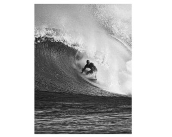 Black and White Surfing Photo:  Surf Photography Fine Art Print Print on Metal, Canvas or Paper.  Print of a Surfer on a Wave in Hawaii