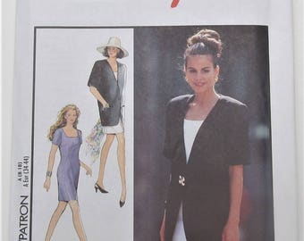 Collarless Jacket With Short Sleeves Fitted Dress With Front And Back Darts Size 8 10 12 14 16 18 Sewing Pattern Style 2022 Plus Size