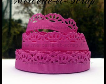 Ribbon grosgrain scalloped flower lace by the yard fuchsia 16mm