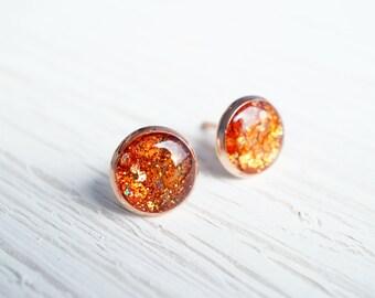 Medium Orange Glitter Rose Gold Stud Earrings