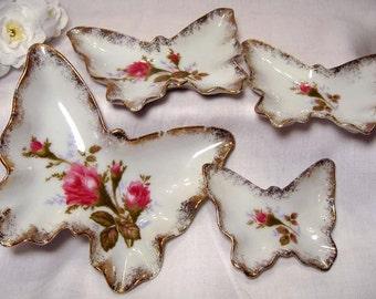 Vintage Butterfly Nesting Trinket Trays - Set of 4 - Lefton China - Roses & Gold Trim BEAUTIFUL