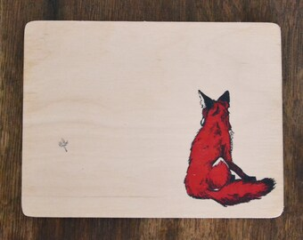 Fox Illustration art on wood 7.8x5.9 inch - wall decoration curious fox