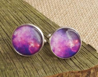 Space cufflinks  Men cufflinks  Galaxy cufflinks Gift for him Wedding cufflinks Blue Galaxy Astronomy Cufflinks Gift for dad  Gift  for him