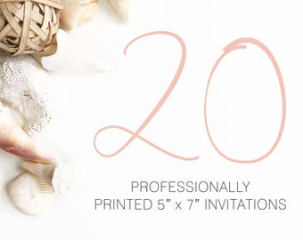 20 Professionally Printed Invitations White Envelopes Included And Free US Shipping, Printed Invitations