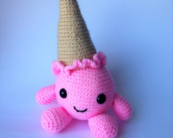 Crocheted softie Ella the Strawberry Ice Cream