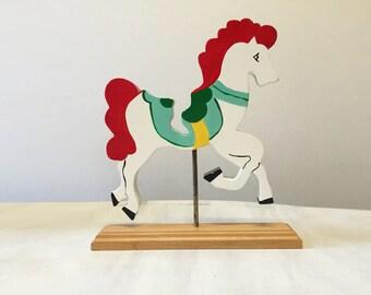 Carousel horse, wooden horse, horse ornament, vintage carousel, vintage horse, nursery decor, baby shower gift, horse figurine, retro horse