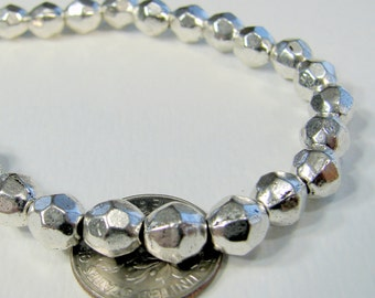WHOLESALE. Tibetan Silver Bead Spacers, Faceted Round, Antique Silver, about 7mm in diameter, hole: 1mm (LF1BB0401Y)