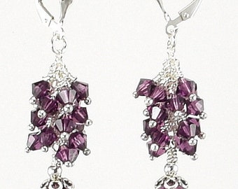Swarovski Earrings - Swarovski Amethyst Sterling Silver Dangle Earrings - KTBL