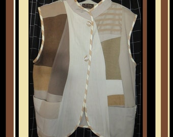 Vest, Plus size Swing Vest, Unlined, Cream, Beige, Tan, Recycled combined with New Fabrics, Classic n Classy,