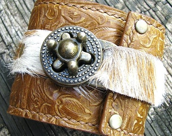 Steampunk Caramel Brown Leather Hair On Wrist Wallet Cuff with Secret Pocket, Embossed Floral
