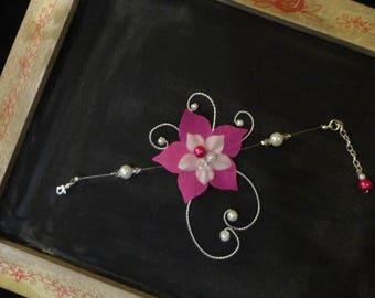 Wedding - bridal bracelet - silk flower bracelet, glass pearls - white (or ivory) and Fuchsia (fuchsia) - Crystal beads
