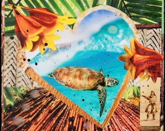 GLASSED, HONU LOVE, New, 4x4 and Up, Hand Painted, Hang-Glassed collage, wood panel, Hawaii, Sea Turtle, Heart, Hula, Ocean Art, wall art
