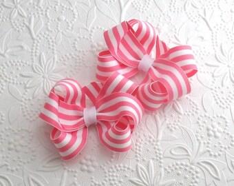 Pigtail Hair Bows, Pink and White Stripe Hair Bows, Pigtail Clips, Toddler Bows, Girls Hair Bows, Twin Hair Bows, Pinwheel Hair Bows