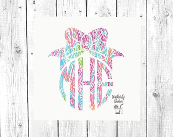 Bow Decal, Bow Monogram, Decal for Car, Monogram for Car, Laptop Decal, Cup Decal, Tumbler Decal, Glass Decal