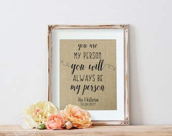 You're my person, You are my person, Anniversary Gift for friends, Meredith Grey, Friendship Gift, Valentines Gift for Best Friend