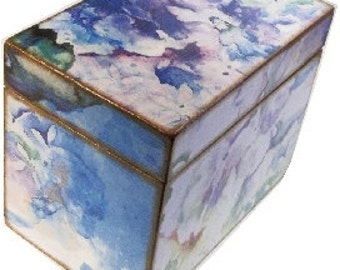 Recipe Box, Decoupaged, Purple Hydrangeas Box, Large Handcrafted Kitchen Storage, Organization Box, Holds 4x6 Cards  MADE To ORDER