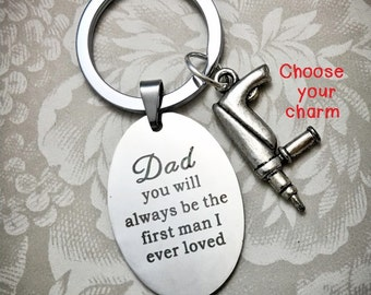 FOB3, Father of the Bride Keychain, Choose Your Charm, Father of the Bride From Bride, The First Man I Ever Loved, Father of Bride Quotes