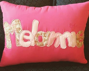 CUSTOM NAME Teddy Bear Pillow
