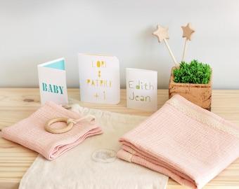 Pink double gauze blanket, lace baby blanket, newborn gift, baby shower gift, baby swaddle, girl baby blanket, summer blanket, baby lovey
