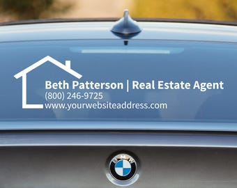 Real Estate Decal, Real Estate Car Decal, Real Estate Agent, Broker Decal, Advertising, Business Car Decal, Window Decal, Business Decal