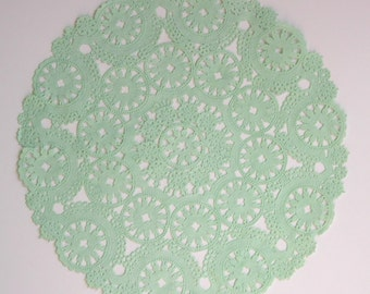 10 dip dyed MINT GREEN paper doilies, 8, 10 or 12 inch, medallion style